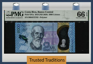 TT PK 281a 2018 COSTA RICA 2000 COLONES POLYMER NOTE PMG 66 EPQ GEM UNCIRCULATED