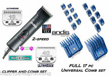 Andis SUPER DUTY Clipper Grooming SET-10&40 ULTRAEDGE Blades,17 Guide Combs KIT