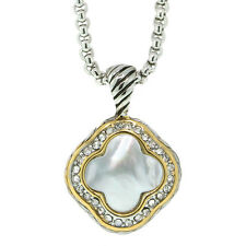 """Flower Shape Mother of Pearl Pendant with Zirconia 16"""" Chain and 3"""" Extension"""