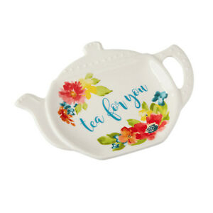 The Pioneer Woman Wildflower Whimsy Shaped Tea Bag Holder Plate ~ Tea for You