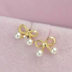 Yellow gold 925 sterling silver pearl bow tie earrings screw back baby stud ball