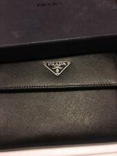 PRADA Saffiano Black Leather Tri-Fold Wallet M170A - NIB