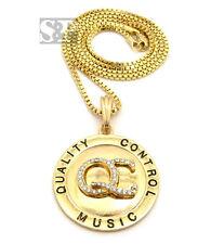 "Hip Hop Round Quality Control Music QC Pendant w/ 24"" Box Chain Necklace XSP479"