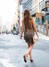 NEW ZARA AW15 SNAKE PRINT HALTER NECK MINI DRESS Size XS S M L REF. 7664/649