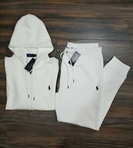 Polo Ralph Lauren Double Knit Tracksuit Hoodie Jogger White New W/Tags Men's L