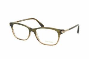 Tom Ford FT5237 098 Eyeglasses Color - Brown/Olive Green Striped Demo Lens