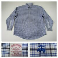 Brooks Brothers Mens Blue Plaid Button Front Sport Long Sleeve Casual Shirt XL