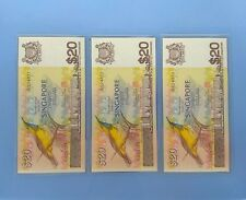 Rare Bird $20 Denomination, Singapore Old Bank Notes, 3 Running Serial Numbers