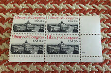 Us Postage Stamps Block of 4 Mnh Scott #2004 Library Of Congress 20 Cent 1979
