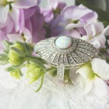 Art Deco Opal Cocktail Ring Solid Silver