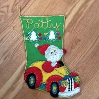 Patty Personalized Christmas Stocking Santa Claus Driving Car Felt Sequin Bead