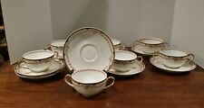 Theodore Haviland Limoges Set of 7 Cream Soup Cups Bowls & Saucers Black Gold