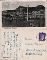 Ansichtskarte Münster (Westfalen) Hauptbahnhof, Stzraßenbahn - Auto 1942