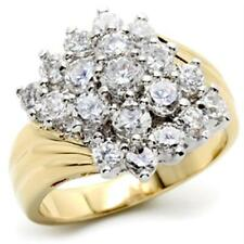 18K GOLD EP 3.0CT DIAMOND SIMULATED CLUSTER RING size 5 - 10 you choose