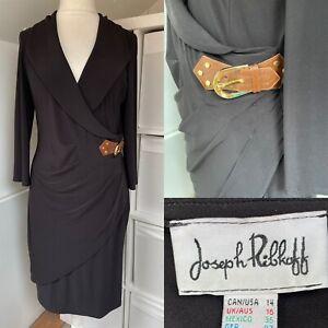 Joseph Ribkoff Black Pencil Dress Size 16 Belted Mock Wrap Pleats Stretc