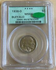 1938 D Buffalo Nickel 5C PCGS MS66 CAC Old Green Holder