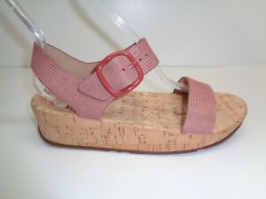 FitFlop Size 11 BON Spice Lizard Print Suede Cork Wedge Sandals New Womens Shoes
