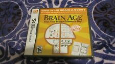 BRAIN AGE NINTENDO DS PUZZLE VIDEO GAME COMPLETE NEW