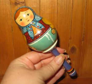 Baby Rattle Wood Russian Doll hand made painted Babushka Ryabova Matryoshka