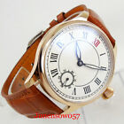 Rose Gold Hand Winding Men Wristwatch 6498 Movement Leather Strap Sub Dial