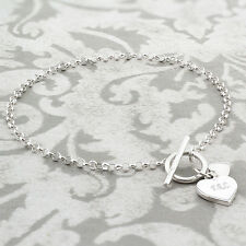 Personalised Sterling Silver T-Bar Heart Bracelet Gift for Her - Free Engraving