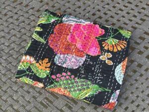 Fruit Handmade Kantha Quilt Twin Indian Bedspread Throw Cotton Blanket Gudari