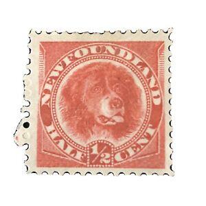 NEWFOUNDLAND, SCOTT # 56, 1/2c.VALUE ROSE RED COLOR, NEWFOUNDLAND DOG ISS MH