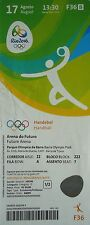 Billet olympique de 17/8/2016 rio handball homme allemagne vs katar qatar # F36