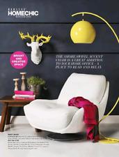 Huge Domayne leather white/cream swivel chair armchair