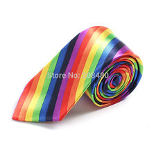 Unisex Gay Pride LGBT Rainbow Stripe Skinny Tie - Brand New