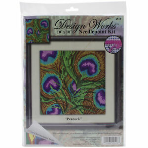 """Design Works Needlepoint Kit 10""""X10""""-Peacock-Stitched In Yarn -DW2518"""
