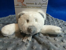 Blankets and Beyond Security Blanket Bear Gray Minky Dot Baby Lovey New