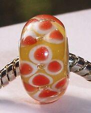 Orange Yellow Charmadillo Jewelry Single Core Glass Bead for Euro Charm Bracelet