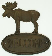 Cast Iron Moose Welcome Sign Plaque Wall Mount Lodge Rustic Brown
