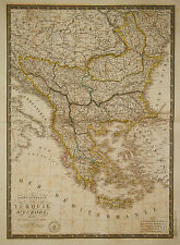 1826 Genuine Antique hand colored map of Turkey in Europe. A.H. Brue