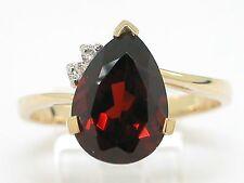 Granat Ring 585 Gelbgold 14Kt Gold  natürlicher Granat und 2 Brillanten