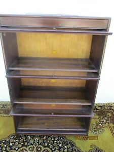 antique stacking bookcase barrister 3 section oversized 16 w. x 34 x 54 mahogany