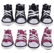 High Quality Dog Puppy Pink / Blue Canvas Non Slip Trainers / Shoes / Boots X 4