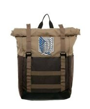 "Attack on Titan Scout Regiment Roll Top Backpack rolltop Bag 18"" x 12"" with Tags"