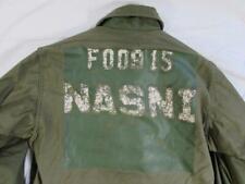 Vtg 80s 1985 US Navy USN Stenciled A-2 Field Deck Cold Weather Jacket NASNI