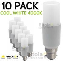 NEW 10 x MERCATOR 10W LED TUBULAR GLOBE B22 BAYONET - COOL WHITE 4000K PACK LAMP