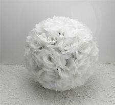 "6 pcs -8"" Rose Flower Pomander Kissing Balls Wedding Pew Home Decoration White"