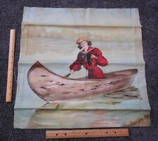 Antique Lithograph Pillow Cover Circa 1900 Gibson Lady Red Nautical Dress Canoe