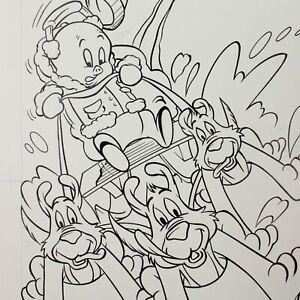 Porky Pig original artwork book illustration pen & ink vintage cartoon #31