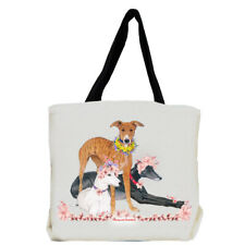 Greyhound Trio Dog with Flowers Tote Bag