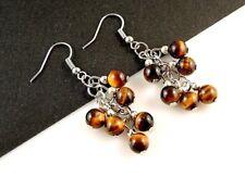 1 Pair of Platinum Plated Tigers Eye Gemstone Dangle Earrings #B27