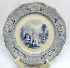 "1848 J Wedge Wood England ""Columbia"" Blue 10 Sided Transferware Ironstone Plate"