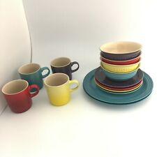 Le Creuset Stoneware Rainbow 4 bowls, 4 plates SM, 2 plates LG, 4 mugs 30053 CP