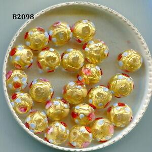 Venetian Murano Moretti Lampwork Golden Fiorato Wedding Cake Beads B2098