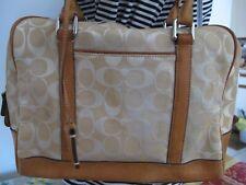 Authentic Women's Beige Cloth Coach Handbag Purse
